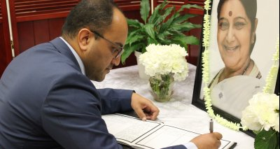 Mr. Zelgai SAJAD signed the book of Condolences for late former foreign Minister of India