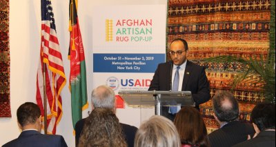 "Mr. Zelgai Sajad Consul General of the Islamic Republic of Afghanistan in New York has participated in the opening ceremony of an exhibition called ""Afghan Artisan Rug Pop – Up"""
